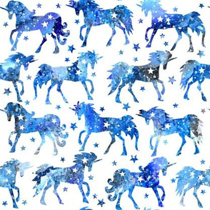 Blue galaxy unicorns - white background - rotated