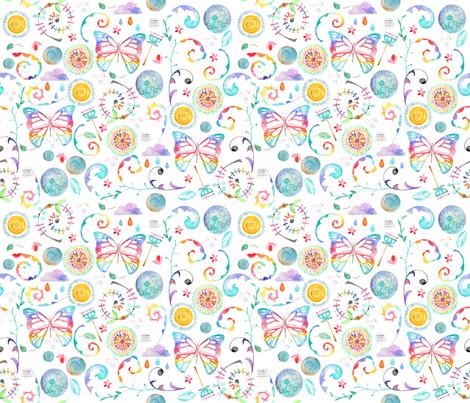 Floral Butterflies - smaller scale fabric by emeryallardsmith on Spoonflower - custom fabric