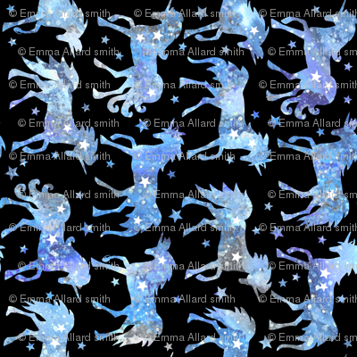 Blue galaxy unicorns - black background - rotated - larger scale