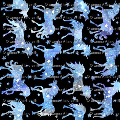 Blue galaxy unicorns - black background - rotated - larger scale