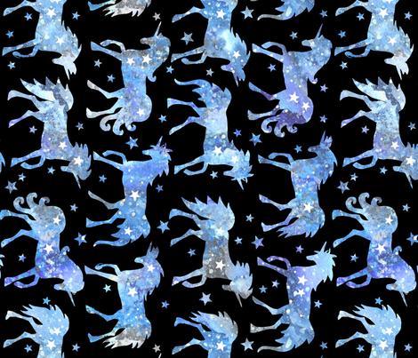 Blue galaxy unicorns - black background - rotated - larger scale fabric by emeryallardsmith on Spoonflower - custom fabric