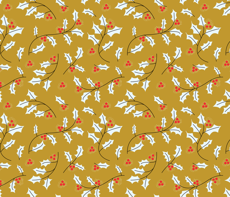 Yellow Holly fabric by bashfulbirdie on Spoonflower - custom fabric