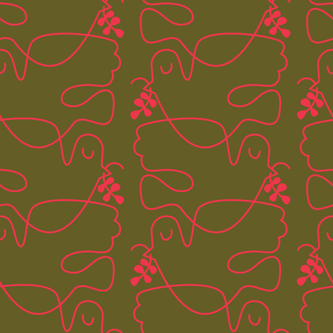 Red & Green Doves fabric by bashfulbirdie on Spoonflower - custom fabric