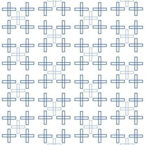 Scattered Square Crosses in Blue