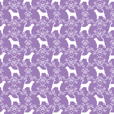 Bloodhound silhouette (Smaller) dog breed floral purple fabric by petfriendly on Spoonflower - custom fabric