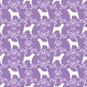Bloodhound silhouette (Smaller) dog breed floral purple