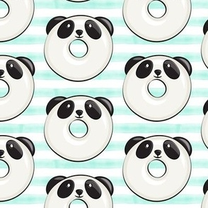 panda donuts - cute panda (mint stripe)
