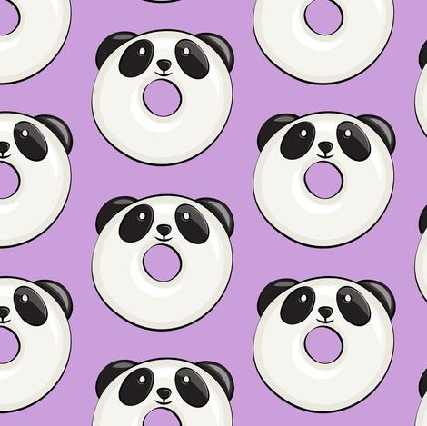 panda donuts - cute panda (purple) fabric by littlearrowdesign on Spoonflower - custom fabric