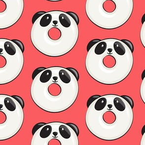 panda donuts - cute panda (red)