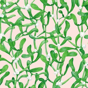 Green Mistletoe Berries Pattern Pale Nude