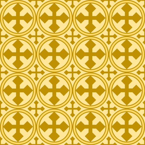 Circle Cross in Gold fabric by st_tabithas_workshop on Spoonflower - custom fabric