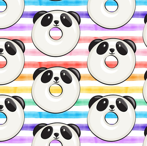 panda donuts - cute panda (rainbow stripe) fabric by littlearrowdesign on Spoonflower - custom fabric