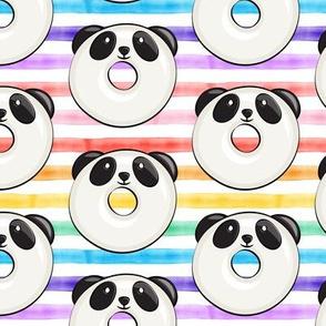 panda donuts - cute panda (rainbow stripe)