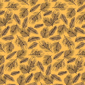 Pine-Pattern-Outlnes-Black-Yellow