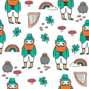 leprechaun // st. patrick's day good luck irish four leafed clover rainbows white orange