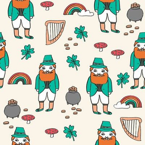 leprechaun // st. patrick's day good luck irish four leafed clover rainbows beige