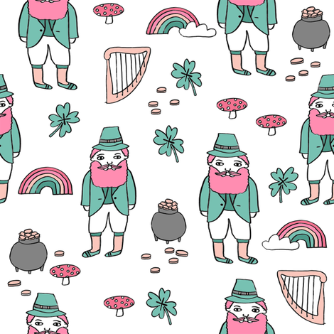 leprechaun // st. patrick's day good luck irish four leafed clover rainbows white pink fabric by andrea_lauren on Spoonflower - custom fabric