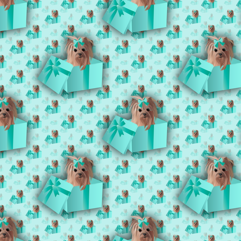 Yorkie - Tiffany Matching fabric fabric by sherry-savannah on Spoonflower - custom fabric