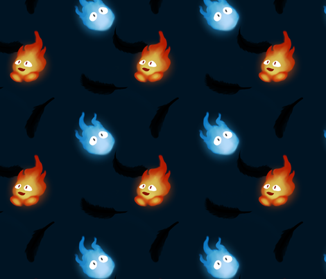 Flames and Stars fabric by cosmiccoral on Spoonflower - custom fabric