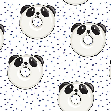 panda donuts - cute panda (blue spots) fabric by littlearrowdesign on Spoonflower - custom fabric