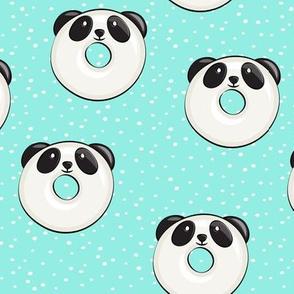 panda donuts - cute panda (aqua spots)