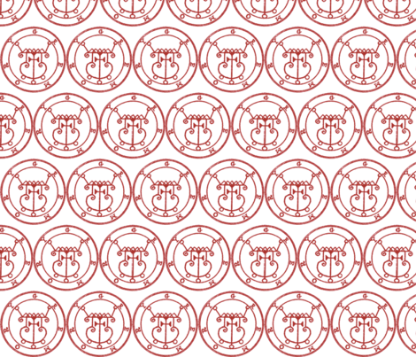 Seal of Gremory dark red on white fabric by starlings_law on Spoonflower - custom fabric