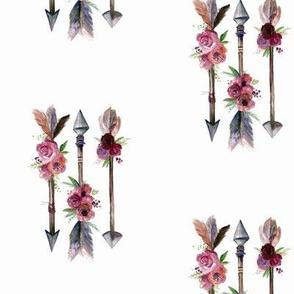 Watercolour Floral Arrows Print