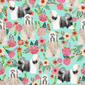 tibetan terrier florals dog breed fabric mint
