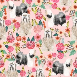 tibetan terrier florals dog breed fabric pink