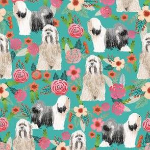 tibetan terrier florals  dog breed fabrics turquoise