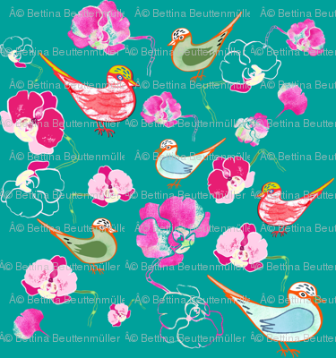 Paradisiacal birds and orchid