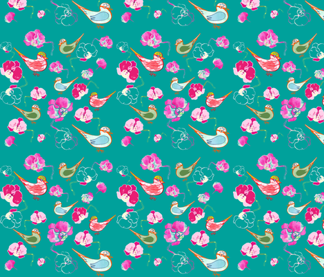 Paradisiacal birds and orchid fabric by freudenwerkstatt on Spoonflower - custom fabric