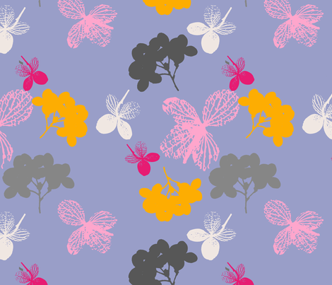 Pink & Bleu Hortensia fabric by freudenwerkstatt on Spoonflower - custom fabric