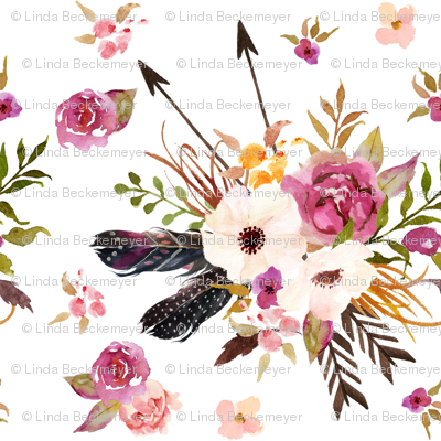 Boho Floral w/ Feathers + Arrows - Pink Flowers Baby Girl Nursery Crib Bedding Fabric B