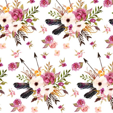 Boho Floral w/ Feathers + Arrows - Pink Flowers Baby Girl Nursery Crib Bedding Fabric B fabric by gingerlous on Spoonflower - custom fabric