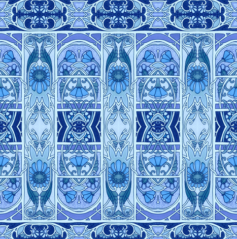 Ye Olde Blue Garden Path fabric by edsel2084 on Spoonflower - custom fabric