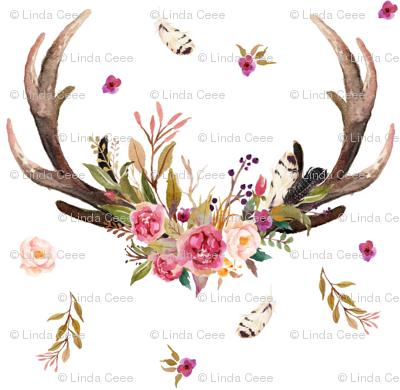 Antlers Amp Flowers Pink Floral Feathers Deer Antler Baby