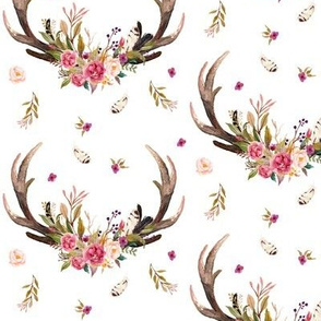Antlers & Flowers - Pink Floral Feathers Deer Antler Baby Girl Nursery Crib Sheets Bedding A