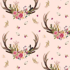 Antlers & Flowers (warm pink) - Pink Floral Feathers Deer Antler Baby Girl Nursery Bedding A