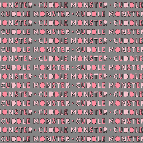 (small scale) cuddle monster || pink on grey fabric by littlearrowdesign on Spoonflower - custom fabric