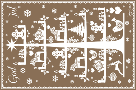 God Jul brown sugar fabric by lilyoake on Spoonflower - custom fabric