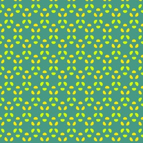 Bean Dots Triads    -Yellow & Lime on medium Turquoise Green