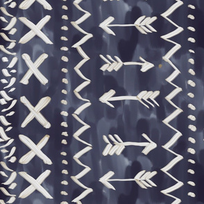 Large scale painted mud cloth indigo