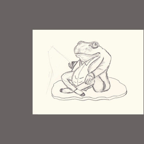 Ballet Frog Sketch Pillow
