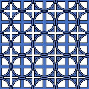 Circle Cross on Blue