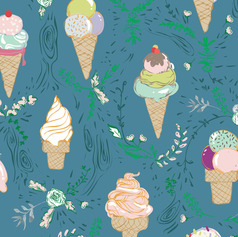 Le Parc Sweetie (teal)  fabric by nouveau_bohemian on Spoonflower - custom fabric