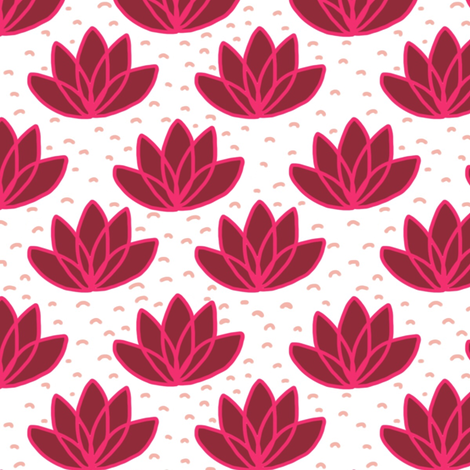 Mod flamingo lotus flowers fabric by mrshervi on Spoonflower - custom fabric