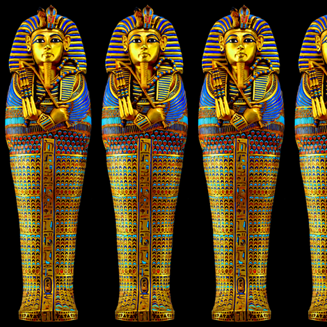 4 ancient egypt egyptian king tut Tutankhamun pharaoh gold mummy death masks cobra snakes crown vulture serpent coffin shepherd's Crook flail Nekhbet Wadjet Uraeus funerary funeral hieroglyphs    fabric by raveneve on Spoonflower - custom fabric