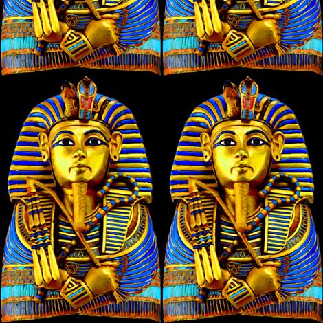 3 ancient egypt egyptian king tut Tutankhamun pharaoh gold mummy death masks cobra snakes crown vulture serpent coffin shepherd's Crook flail Nekhbet Wadjet Uraeus funerary funeral    fabric by raveneve on Spoonflower - custom fabric