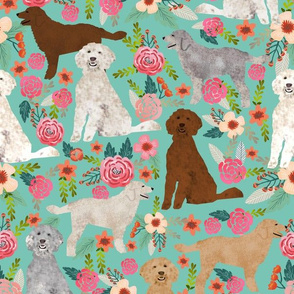 golden doodles fabric (Large) cute dog floral fabric cute golden doodle colors design best golden doodles fabric